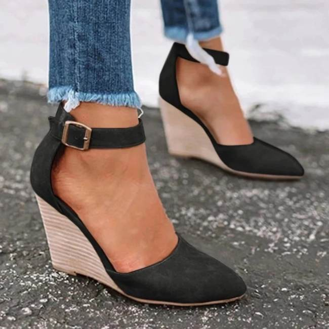 Summer Classic Wedge Pumps Ankle Strap Heels Sandals