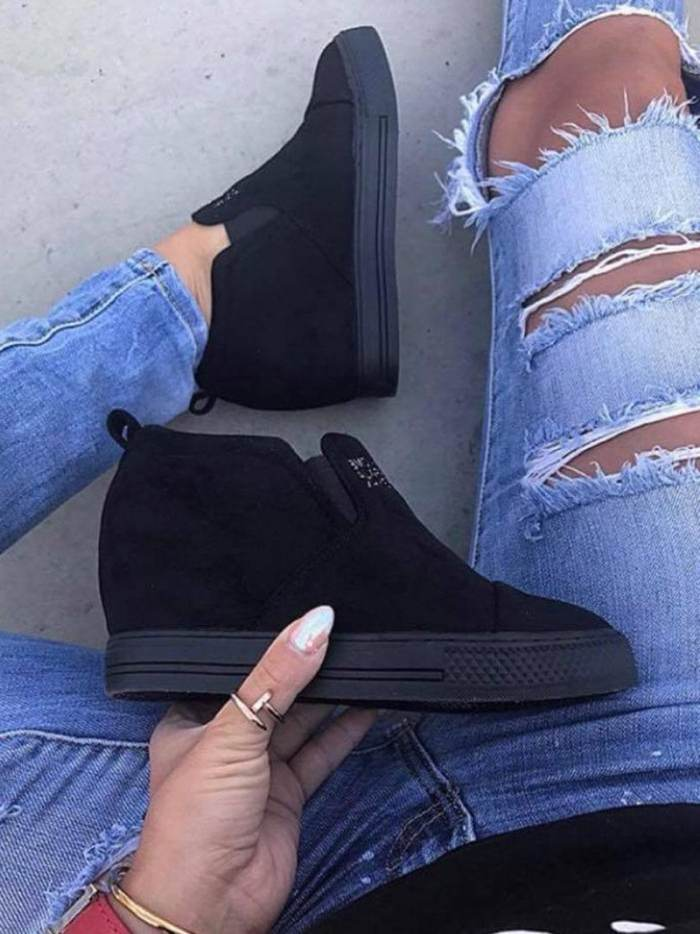 Fashion Letter Slip On Faux Suede Wedge Heel Casual Shoes