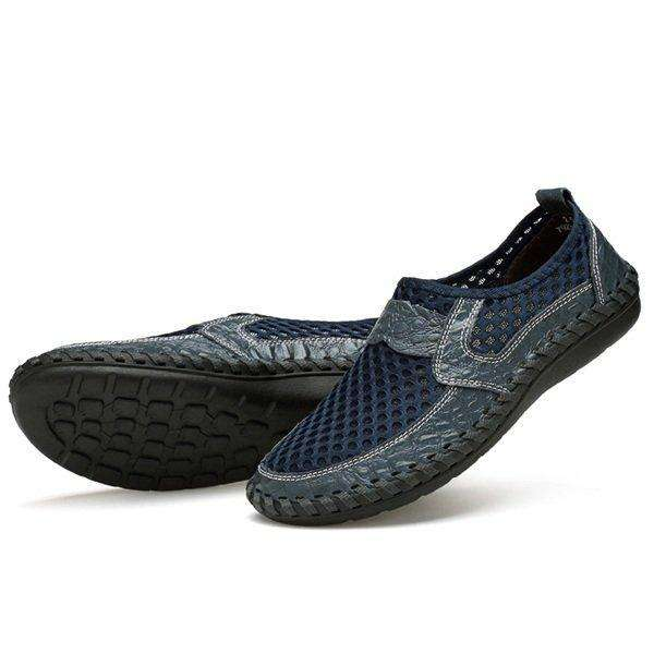 Menico Men's Stitching Honeycomb Mesh Soft Loafers Breathable Outdoor Casual Shoes