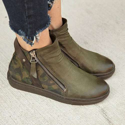 Women Large Size Boots Ankle Zipper Martin Boots