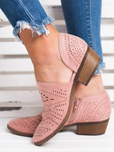Hollow-out Low Heel Cutout  Suede Zipper Ankle Boots