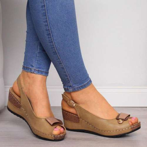Women Peep Toe Buckle Strap Wedge Sandals
