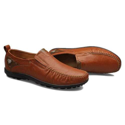Big Size Men Genuine Leather British Style Soft Print Slip On Business Shoes