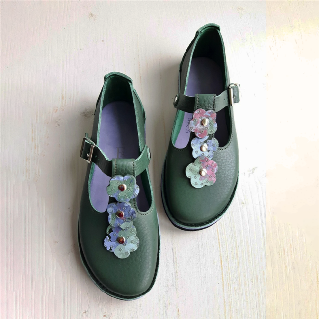 Belt Buckle Flower Single Shoes Women's Shoes