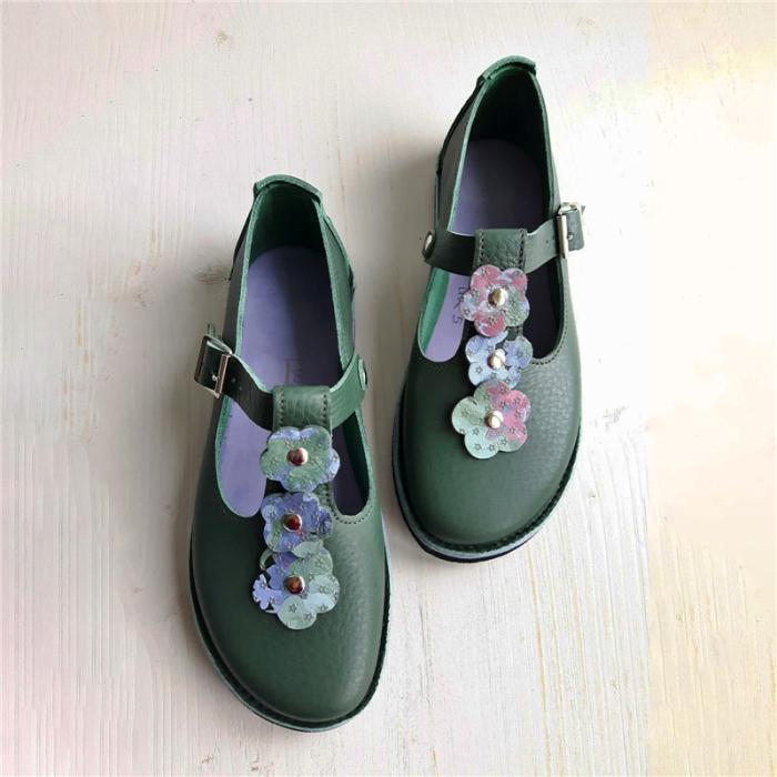 Belt Buckle Flower Single Shoes Women's Shoes