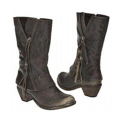 Women's Vintage Side Zippers Boots Tassel Wide Calf Boots