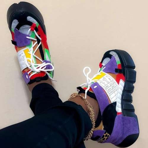 Round Toe Platform Lace-Up Mid-Cut Upper Platform Color Block Sneakers