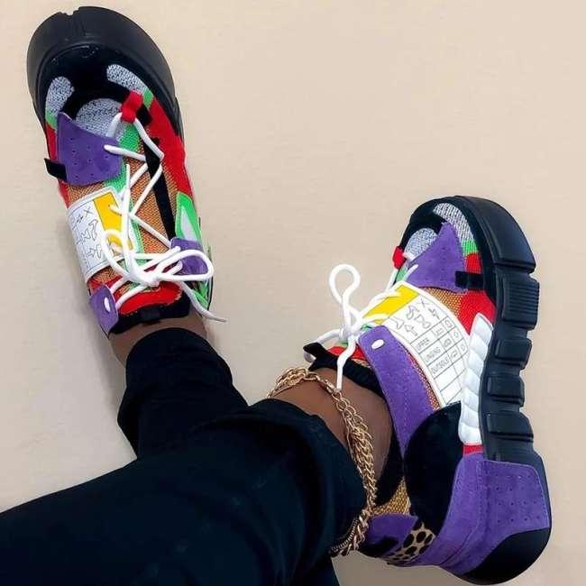 Round Toe Platform Lace-Up Mid-Cut Upper Platform Color Block Sneakers