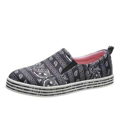 Women Fabric Characteristic Pattern Slip On Skate Loafer