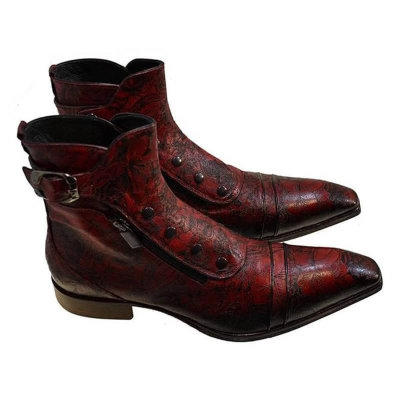 Men's Retro Snake Pattern Button Ankle Boots
