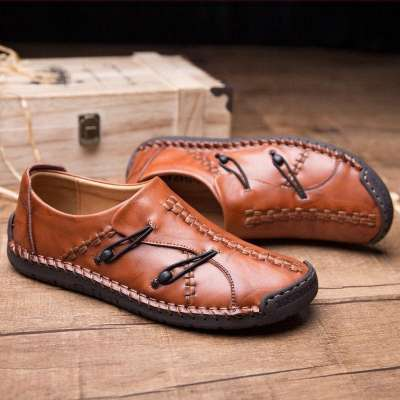 Men's Hand Stitching Stylish Soft Sole Slip On Loafers Casual  Shoes