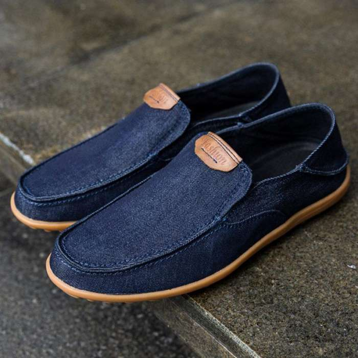 Large Size Men Canvas Collapsible Heel Non-slip Slip On Casual Shoes