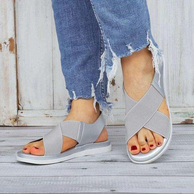 Comfy Sole Slip On Sandals Elastic Textile Splicing Sandals