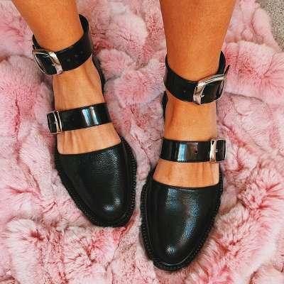 Fashion Trends Low Heel Color block Buckle Flats