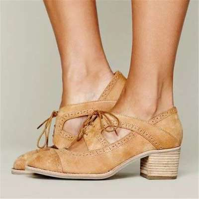 Cutout Lace-up Low Heel Oxford Shoes Women Daily Loafers Sandals