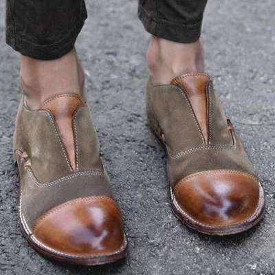 Women's Oxford Shoes Cap Toe X Stitching Vintage Loafers