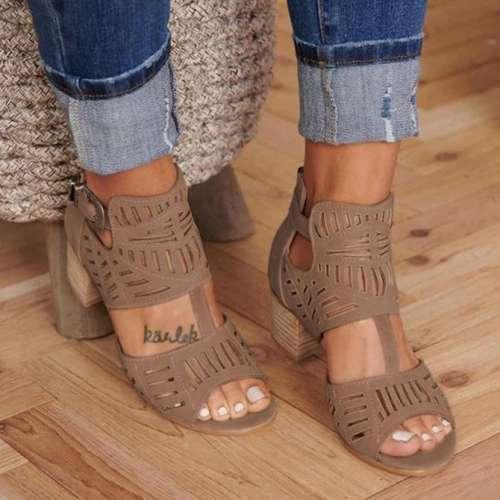 Women Chunky Heel Adjustable Buckle Sandals Casual Shoes