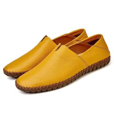 Large Size Men Faxu  Leather Hand Stitching Soft Sole Loafers