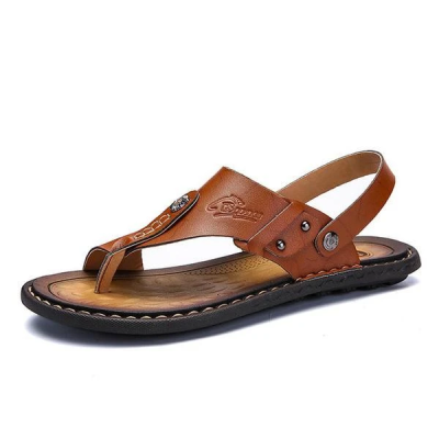 Men's Genuine Leather Leisure Slippers Flip-Flops Comfortable Soft Sandals