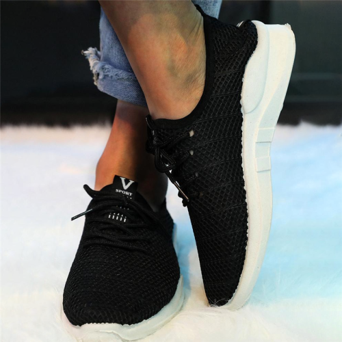 Solid Flying Woven Lace-Up Sneakers