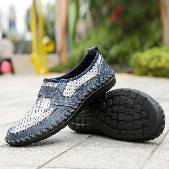 Men's Hand Stitching Printed Fabric Splicing Breathable Casual Shoes