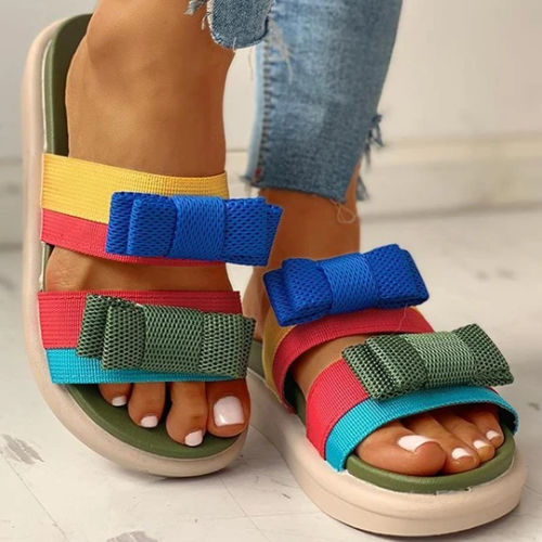 Women's Rainbow Slip-on Sandals with Ribbon Bow
