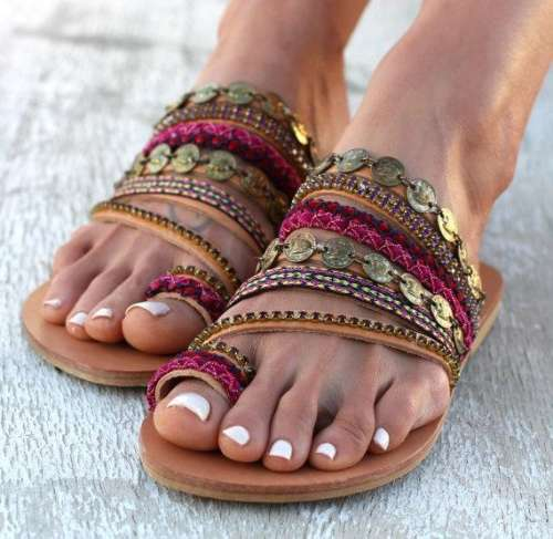 Slip on Artisanal Sandals Handmade Greek Style Boho Sandals