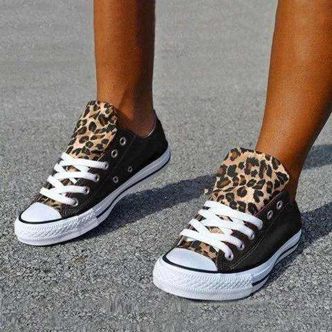 Canvas Lace-Up Leopard Flat Heel Round Toe Casual Sneakers