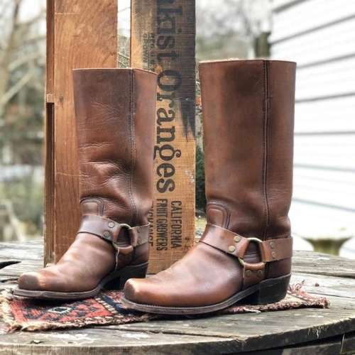 Vintage Slip-on Mid-Calf Chunky Heel Square Toe Cowboy Boots