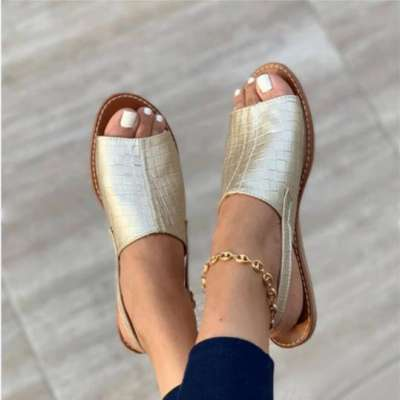 Simple embossed flat sandals