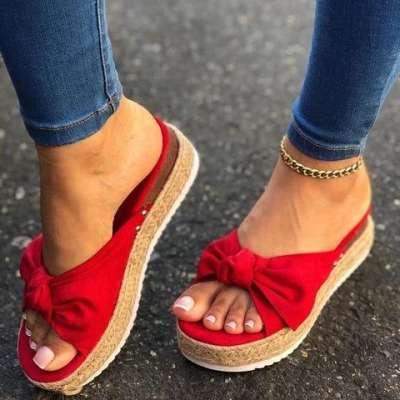 Women Casual Summer Bowknot Comfy Slip On Sandals