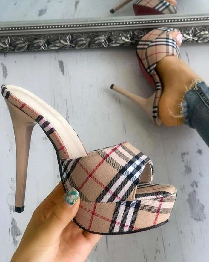 Colawings Plaid Stilettos Thin Heeled Sandals