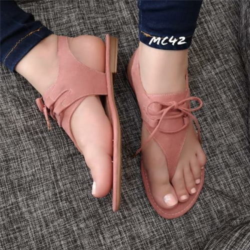 Women's Lace-up Flip-Flops Nubuck Flat Heel Sandals