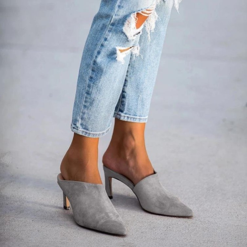 Pointed Toe Mules Heeled Sandals