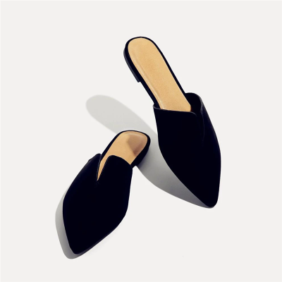 Colorblock Pointy-Toe Flat Sandals