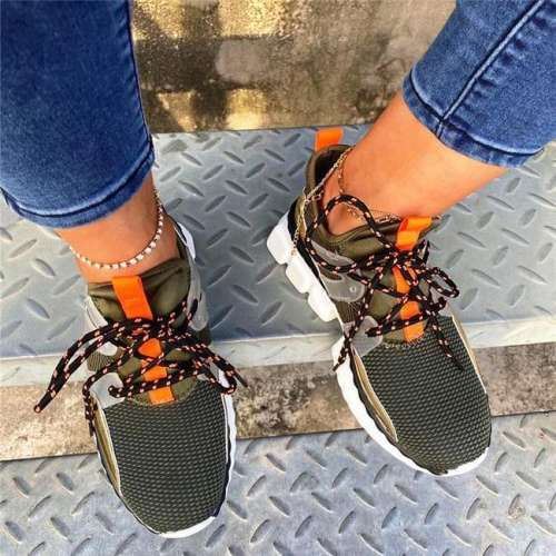 NEW!Round Toe Low-Cut Upper Lace-Up Sneakers
