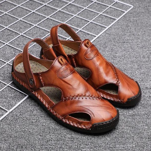 Men's Leather Roman Beach Sandals Slippers