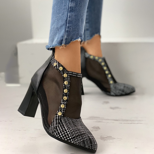 Studded Back Zipper High Heel Pointed Sandals