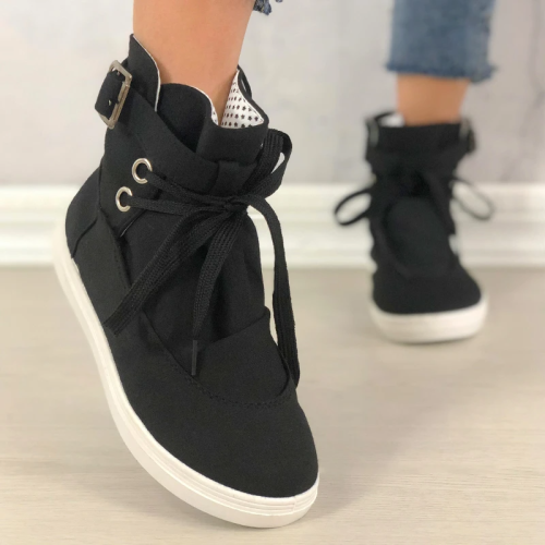 Women Lace-Up Buckle Casual Canvas Boots