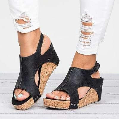 Peep Toe PU Blocking Hook-Loop Wedge Sandals