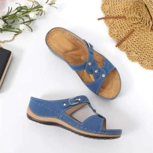 Women`s Casual Solid Color Rhinestone Decorative Sandals