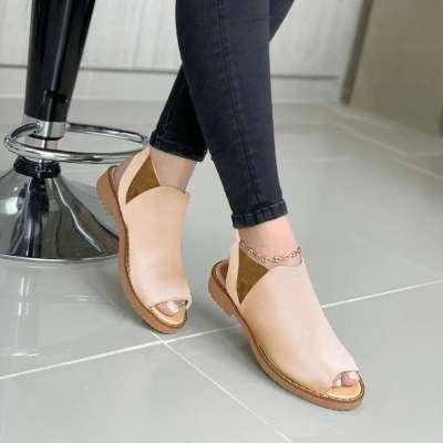 Women's Flat Bottom Fish Head Solid Color British Wind Sandals
