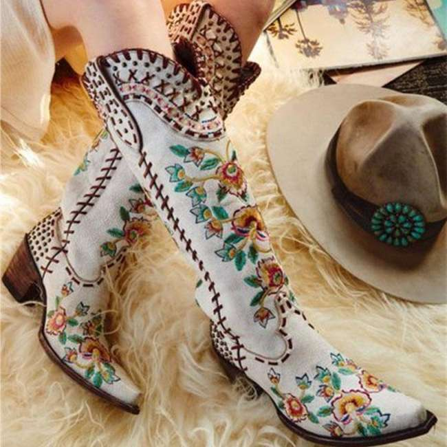 Square Toe Slip-On Floral Chunky Heel Casual Boots