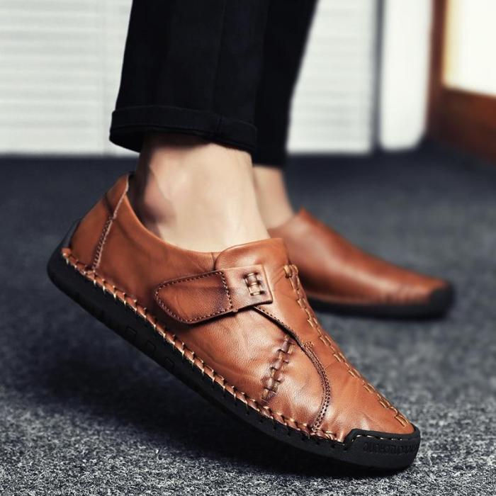 Menico Men's Vintage Hand Stitcing Hook-Loop Soft Leather Loafers
