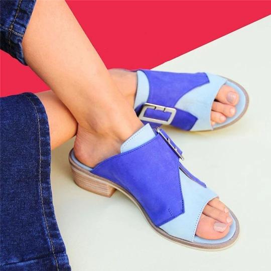 Women's Plus Size Casual Open Peep Toe Block Heel Buckle Sandals