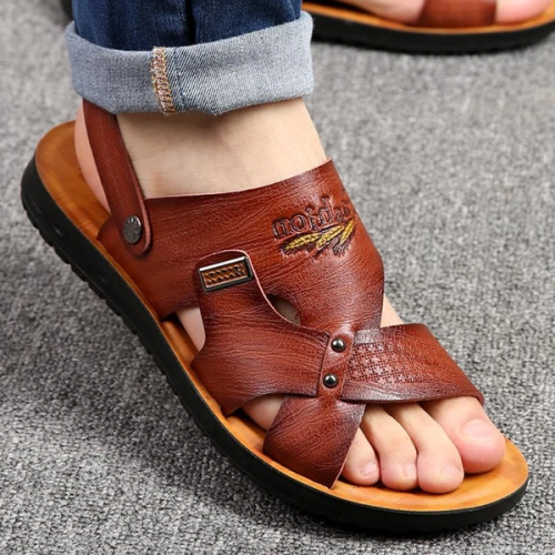 Men's PU Leather Comfortable Sandals Non-slip Slippers Shoes