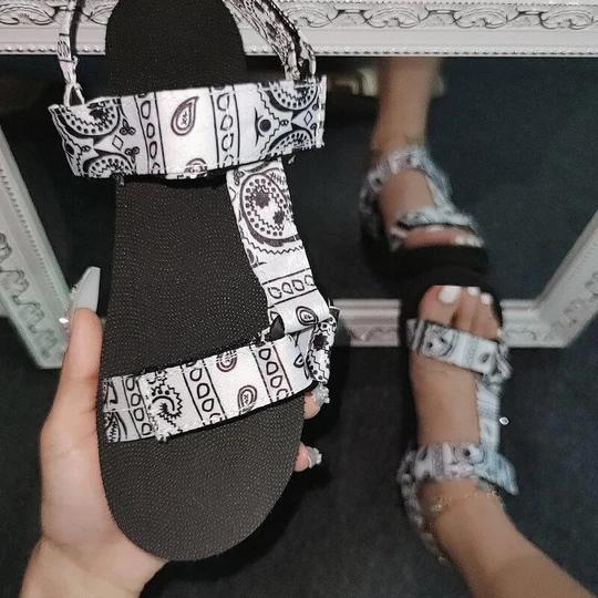 Pattern Open Toe Velcro Flat Heel Sandals