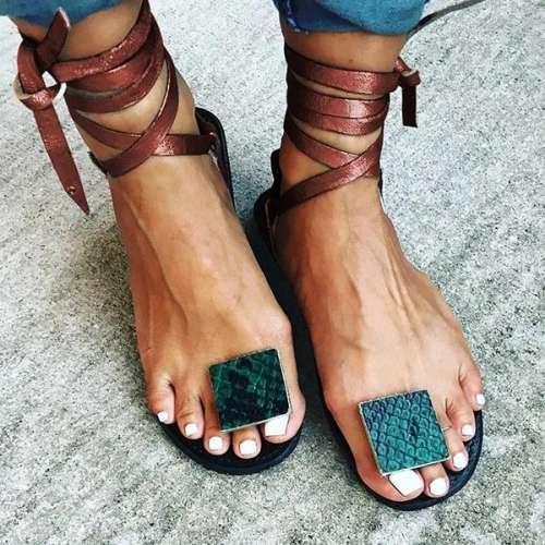 Women Lace-Up Flip-flops Flat Women Summer Sandals