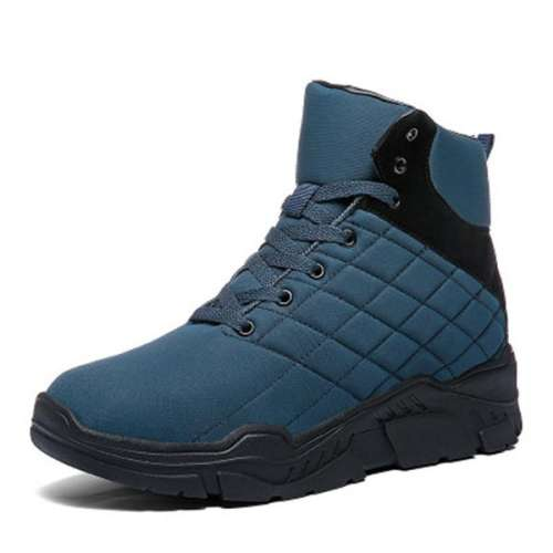 Men Waterproof Cloth Warm Lined Lace Up Casual Ankle Boots