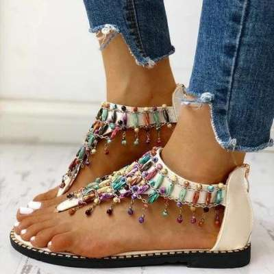 Boho Beaded Toe Ring Flat Sandals